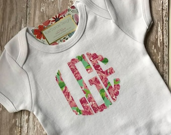 Lilly Inspired Scalloped Monogrammed Onesie or Tee.......Preppy...Baby Gift....All Sizes.....DIY Decal or Custom Tee...Baby Shower