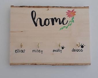 Housewarming gifts, Key Wall Hanging, Key Hanger, Dog Leash Hanger, Wooden Key Hanger, Personalized Key Hanger