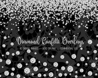 Diamond Confetti Overlays, diamond clipart, diamond clip art png rhinestone, gems, jewels, glam confetti photo overlays, digital download