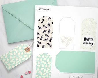 Printable Gift Tags set of 6 - Happy Birthday tags, Mint Dots Design, gift wrapping, Birthday gift tags, printable swing tags