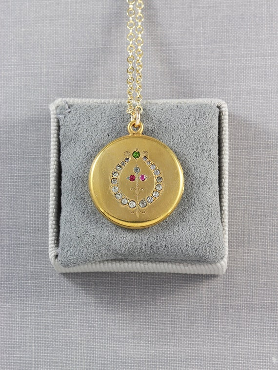 Antique Gold Filled Locket Necklace, Small Round Edwardian Victorian Photo Pendant with Lyre Paste Stones - My Song