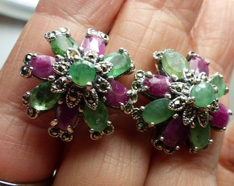 Red Sapphire-green Tourmaline -Sterling Silver Mogul Earrings- 12 grms- 22mm diameter-French Clip- 1888 SM