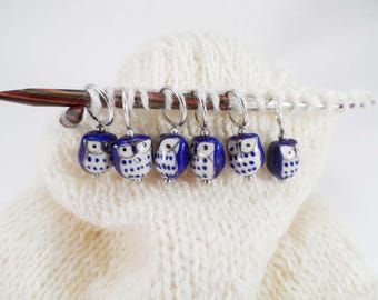 Blue Owl Stitch Markers set of 6