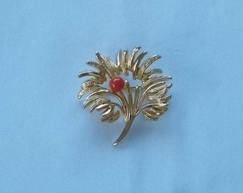 Crusse Gold Filled Brooch with a coral bead.  (428)