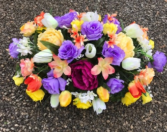 Large Full Spring Cemetery Saddle / Spring Flower Decoration for Grave / Headstone Saddle / Tombstone Flowers