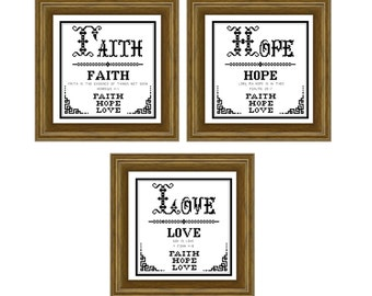 Faith, Hope, Love.  Cross stitch pattern. Instant download PDF.