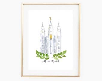 SLC Temple - Salt Lake City Temple - Utah - Watercolor