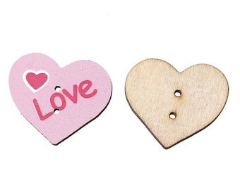 "set of 10 wooden buttons pink ""heart"" 30 X 26 mm"