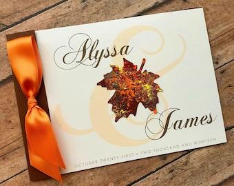 Autumn Wedding Invitation, Fall Wedding Invitation, Maple Leaf Wedding Invitation Set, Monogram Wedding Invitation, Painted Leaf Wedding