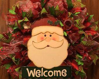 Santa Welcome Wreath, Christmas Welcome Wreath, Santa Head Wreath, Holiday Wreath, Christmas Wreath