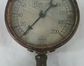 Vintage us gauge company new York steam pressure gauge steampunk art industrial lamp