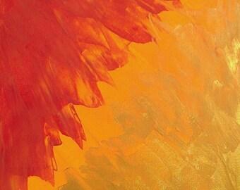 Or, rouge et Orange acrylique peinture abstraite sur toile» série 6 XCIV «Design d'intérieur, décoration d'intérieur, Art, Art moderne mural