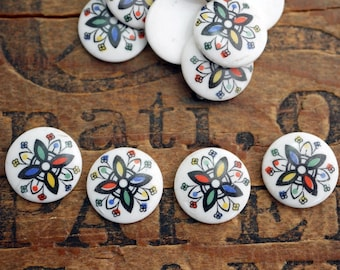 Japanese Glass Cabochon 13mm Floral Cabochon (6)  J151