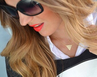 Triangle necklace, gold necklace, tiny gold triangle necklace, minimal jewellery