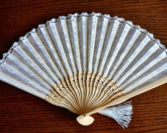 White  Lace Hand Fan -Handheld Folding Fan, Spanish Hand Fan, Lace hand fan, white hand fan