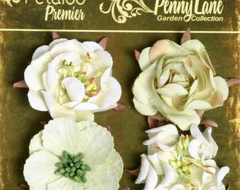 Petaloo Penny Lane Collection Ruffled Roses In Mint Green,  Flower Embellishement , Scrapbook Embellishments