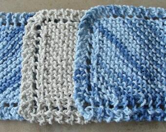 Face Scrubbie facecloth washcloth blue ecru or natural hand knit set of 3