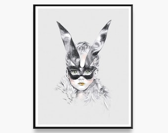 Annabel & The Easter Bunny - Limited Edition Art Print for the Home Interior