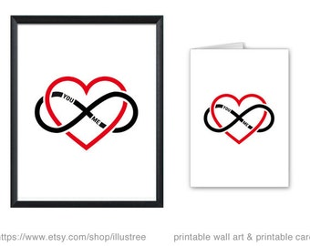 Infinity heart printable card and art print, infinite sign, symbol, you and me in love forever, printable wall art, instant download