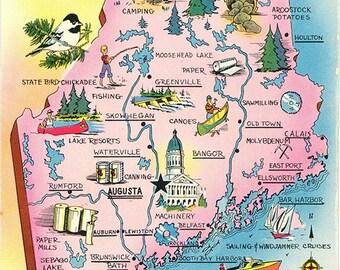 Maine State Map Pine Tree State Vintage Postcard (unused)