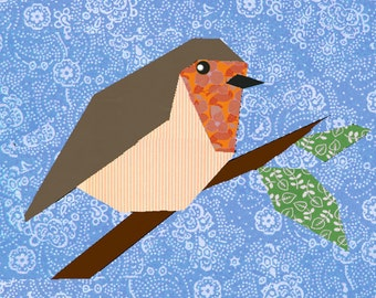 Robin paper pieced quilt block pattern PDF