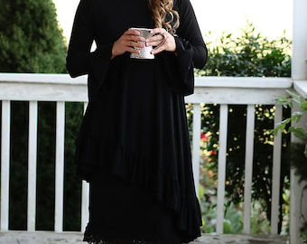 LillyAnnaLadiesApparel Noir KATE Black Shirt Lala Modest