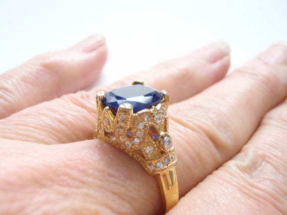 Jackie Kennedy Sapphire Cocktail Ring 24k Plate RARE JackiE