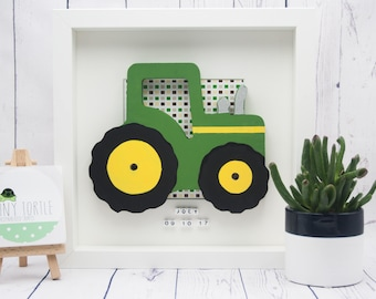 Wooden tractor frame, new baby gift, christening gift, baby shower gift, nursery decor, personalised gift, birthday gift, wooden box frame