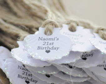 10x Personalised Birthday  Embossed Shell Wedding Favour Tags/Gift Tags