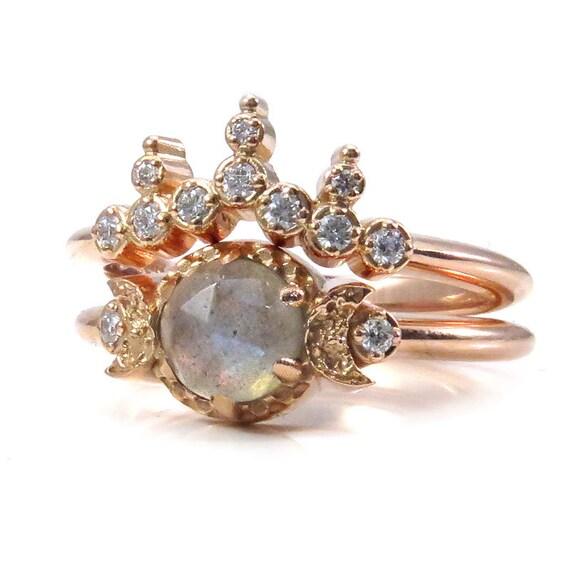 Labradorite Moon Tiara Engagement Ring Set - Modern Celestial Wedding Rings