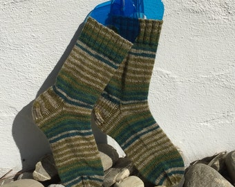 Green Stripe Handknit Socks