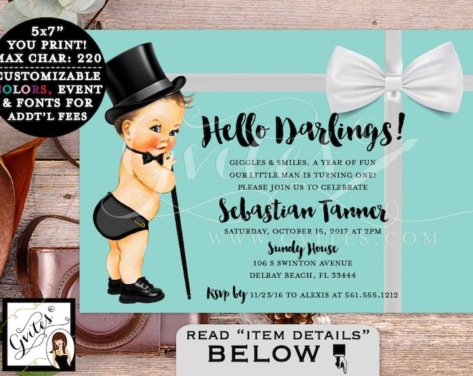 Baby and Co Baby First Birthday Invitation, breakfast at blue and white, little man, first birthday invites, digital, 7x5 Gvites