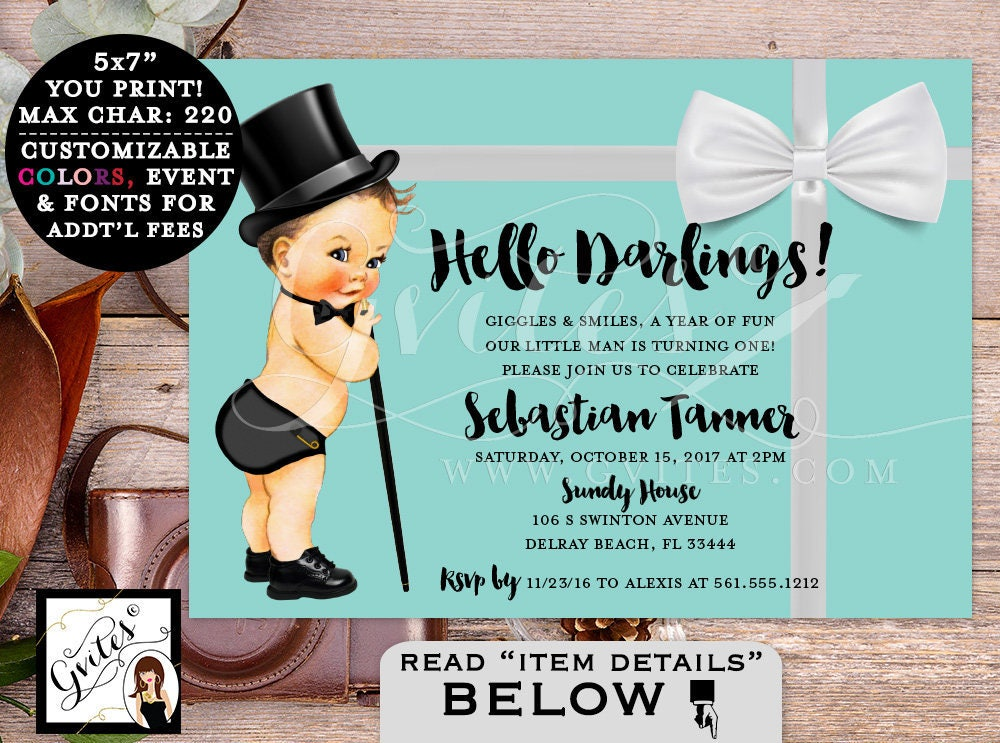 Baby and Co Baby First Birthday Invitation, breakfast at blue and ...