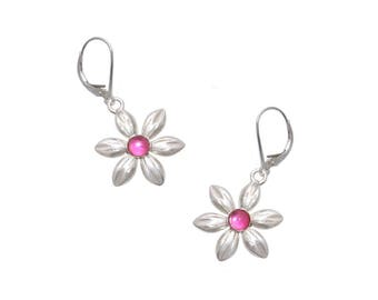 Sterling Silver Pink Daisy Flower Earrings Made in America Handcrafted Handmade