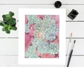 """11"""" × 14"""" Flower Succulent Garden Floral Fine Art Paper Giclee Print"""