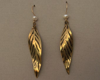 Etched Brass -Feather - Leaf -earrings