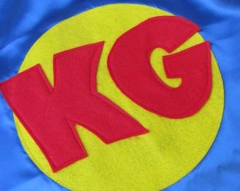 KIds Capes Personalized Custom Superhero Costume Kid Cape w/  2 letters Customizable