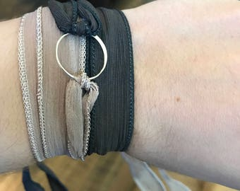 Taupe and black silk wrap bracelet with Sterling silver circle