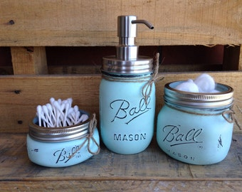 Painted Mason Jars. Mason Jar Bathroom Kit. Home Decor. Bathroom Decor. Vintage. Rustic. Shabby Chic. Mason Jar Soap Dispenser. Gift.