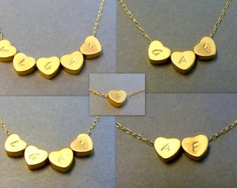 Heart Initial Necklace in Gold or Silver - Initial Heart Necklace - Personalized - Bridesmaid gift - Flower Girls