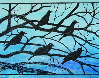 Lino print. Birds. 'Evening roost'