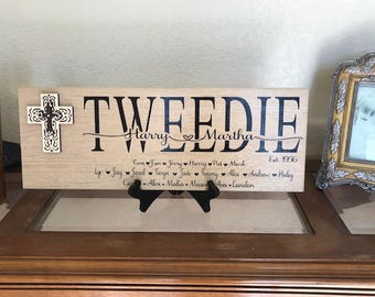 Family names, Personalized plaque, Custom sign, Personalized Ceramic Sign, Anniversary gift, Housewarming gift, Bride and Groom Gift,