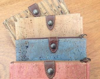 Cork wallet, natural, blue, salmon pink or stripes  - Eco Friendly