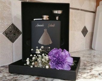 Personalized Bridal Party Boxed Gift Set, Bridesmaid Gift, Groomsmen Gift, Custom Engraved Flask and Funnel Gift Set, Best Man Gift