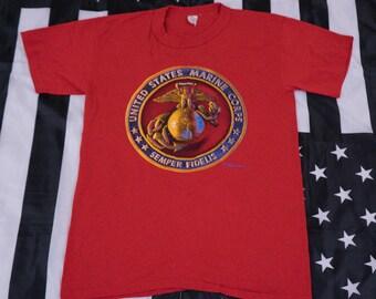Vintage 80s United States Marine Corps t shirt Size L Tee Swing Single Stitch Military Veterans USMC Semper Fidelis