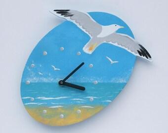 Seagull Clock. Herring Gull. Seascape. Original Acrylic. Hand Made. Hand painted. Cornish Art.