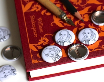 Shakespeare Pin Badge William Shakespeare Badge Shakespeare Button Book Button