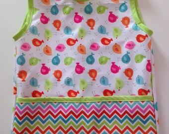 Sweet Tweet Waterproof Child's Cobbler Apron; Size 2T and 4T