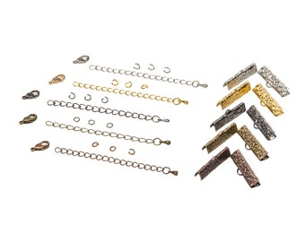 25mm  ( 1 inch )  Ribbon Choker or Ribbon Bracelet Findings Kit - Bronze, Gold, Silver, Gunmetal, Copper or Mixed - Artisan & Dots Series