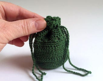 Tiny Crochet Bag, Coin Purse, Guitar Pick Bag, Dice Bag - Free Domestic Shipping
